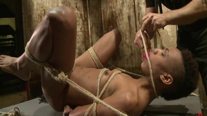 Bondage escorted by ebony pornstar