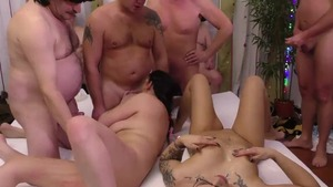 Shaved european brunette gangbang at the party