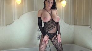 Busty in fishnets nailed rough