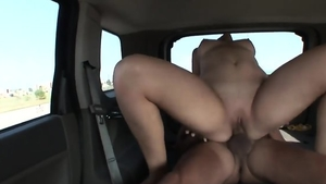 Very cute blonde hair interracial fuck in car