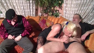 Busty lustful german blonde hard double penetration