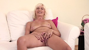 Super sexy blonde haired fingering during interview