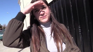 Saggy tits european amateur sucking dick in the street in HD