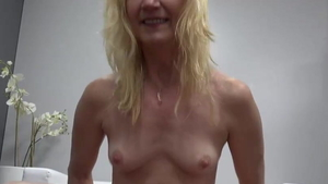 Pussy sex in company with very small tits granny