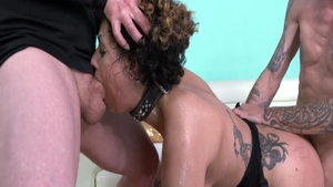 Raw sex accompanied by inked brunette