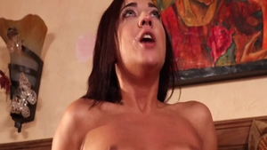 Young brunette Amara Romani helps with rough sex in shower