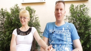 Masturbating long legged blonde haired in glasses outdoors