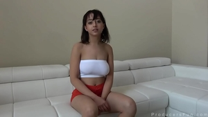 Trimmed pussy Marilyn Mansion POV dirty talking at casting