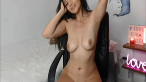 Young obscene girl cum in pussy on web-cam