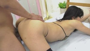 Rough loud sex in company with young asian babe