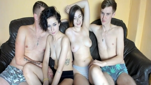Super sexy couple foursome on webcam