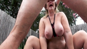 Sexy stepmom does what shes told outdoors