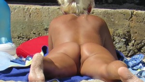 Naked mature nudist gets plowed at the beach