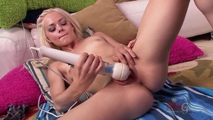 Blonde hair fun with toys