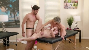 Huge boobs blonde haired helps with sloppy fucking HD