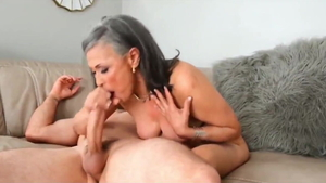 Huge boobs MILF cum in mouth on vacation