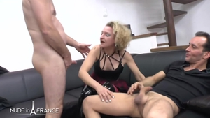 Hard pounding together with naked french blonde hair