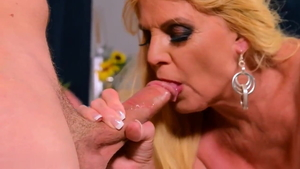 Hard pounding together with saggy tits blonde