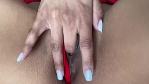 Shaved & very small tits couple POV fingering