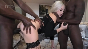 Plowing hard in company with girl