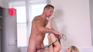 Muscled german blonde rough workout in HD