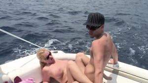 Busty & big boobs blonde babe jizzed on the boat