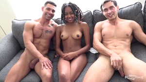 Skinny black With merry milk sacks Railed In A bisexual trio