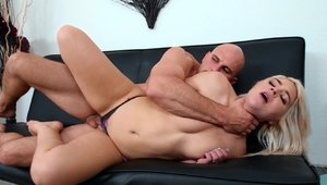 First Time Auditions: Super hot blonde licking big cock