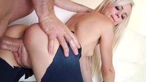 Tight in denim jeans ass pounding