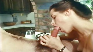 Vintage hairy and bubble butt Honey Wilder goes wild on cock