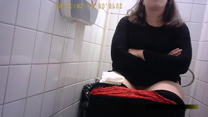 Teen chick upskirt goes wild on cock in toilet